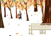 紅葉の公園とベンチと父子 22987000094| 写真素材・ストックフォト・画像・イラスト素材|アマナイメージズ