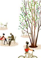 公園のカフェにいるカップルと自転車の女性