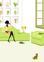 リビングでくつろぐ女性 22987000098| 写真素材・ストックフォト・画像・イラスト素材|アマナイメージズ