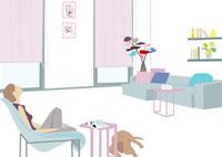 くつろぐ女性と犬 22987000099| 写真素材・ストックフォト・画像・イラスト素材|アマナイメージズ