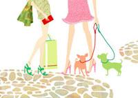 女性の足と犬とショッピングバッグ