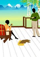 旅先のリゾート地で寛ぐシニア夫婦