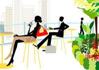 カフェで仕事をするビジネスパーソン 22987000122| 写真素材・ストックフォト・画像・イラスト素材|アマナイメージズ