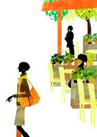カフェの前を通る女性