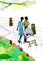 母、娘、赤ん坊の3世代での散歩 22987000135| 写真素材・ストックフォト・画像・イラスト素材|アマナイメージズ