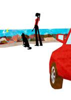 海を眺める女性と犬 22987000136| 写真素材・ストックフォト・画像・イラスト素材|アマナイメージズ