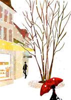 雪がふる街の光景