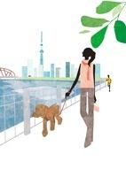スカイツリーをバックに犬と散歩する女性 22987000165| 写真素材・ストックフォト・画像・イラスト素材|アマナイメージズ