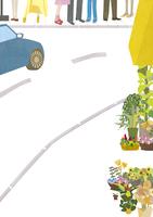 バス停に並ぶ人たちと花屋 22987000179| 写真素材・ストックフォト・画像・イラスト素材|アマナイメージズ