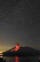 星空のもとで噴火する桜島昭和火口 22995000555  写真素材・ストックフォト・画像・イラスト素材 アマナイメージズ