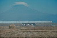 富士山と笠雲と新幹線 23018003160| 写真素材・ストックフォト・画像・イラスト素材|アマナイメージズ