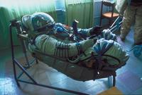 ソユーズ内の宇宙飛行士の姿勢