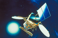 軌道上の通信衛星