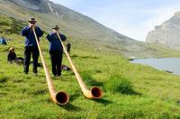 祭りでアルプホルンの演奏を披露する人たち
