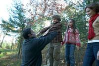 紅葉の森で遊ぶ家族 24003000238A  写真素材・ストックフォト・画像・イラスト素材 アマナイメージズ