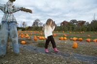 かぼちゃ畑のかかしと少女