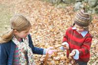 かごで落ち葉を運ぶ少年と少女