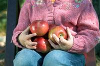 りんごを両腕で抱える少女