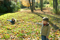落ち葉のある庭で遊ぶ少年と少女