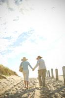 砂浜を歩くシニアカップルの後ろ姿