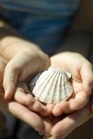 貝殻を持つ母と娘の手元