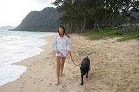 浜辺に犬と座っている女性 24010000039| 写真素材・ストックフォト・画像・イラスト素材|アマナイメージズ