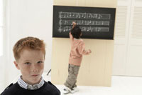 楽譜が書かれた黒板の前にいる少年2人