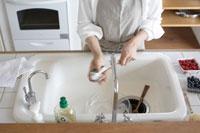キッチンで洗い物をする女性の手元