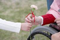 花をシニア女性にあげる子供の手