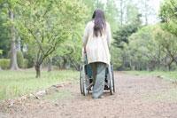 車椅子を押す女性 24015000045  写真素材・ストックフォト・画像・イラスト素材 アマナイメージズ