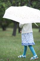 自然の中で傘をさす子供の後ろ姿