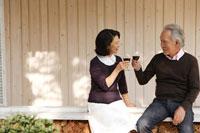 ワイングラスで乾杯をするシニアカップル 24020000210| 写真素材・ストックフォト・画像・イラスト素材|アマナイメージズ