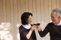 ワイングラスで乾杯をするシニアカップル