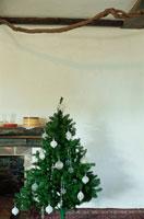 暖炉脇にあるクリスマスツリー