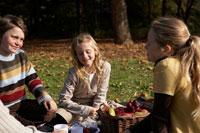 ピクニックをする少年少女3人 24024000297| 写真素材・ストックフォト・画像・イラスト素材|アマナイメージズ