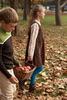 リンゴのかごを持つ少年少女2人 24024000337| 写真素材・ストックフォト・画像・イラスト素材|アマナイメージズ