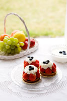 ブルーベリーヨーグルトと果物と苺タルト