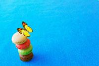 カラフルなマカロンと蝶