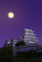 姫路城 月 25023072133| 写真素材・ストックフォト・画像・イラスト素材|アマナイメージズ