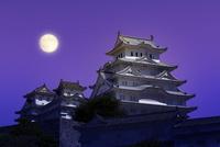 姫路城 月 25023072135| 写真素材・ストックフォト・画像・イラスト素材|アマナイメージズ
