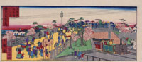 浮世絵 神戸桐生橋と蒸気機関車