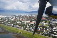 機上からレイキャヴィーク市街