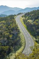 朝の知床横断道路 25041036415| 写真素材・ストックフォト・画像・イラスト素材|アマナイメージズ