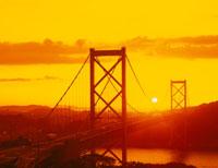 関門橋の夕陽