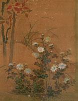 掛け軸 南天と菊