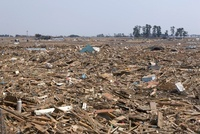 東日本大震災 閖上(ゆりあげ)内陸部に押し寄せた津波の痕