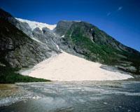 小川とヨステダール氷河