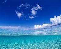 半水面と白い雲