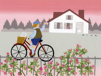 バラと自転車