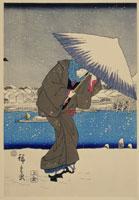 浮世絵 名所江戸八景 浅草暮の雪